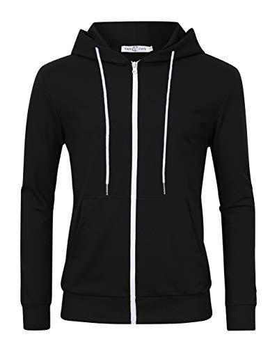 VAN CHY Men's Slim Fit Long Sleeve Lightweight Zip up Hoodie Hooded Sweatshirts with Kanga Pocket Black M