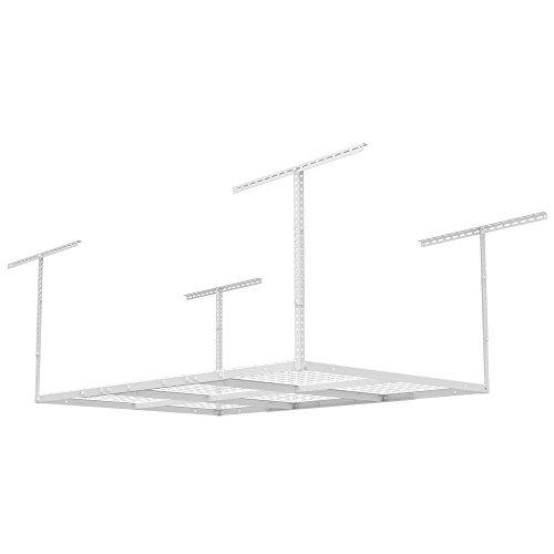 FLEXIMOUNTS 4x6 Heavy Duty Overhead Garage Adjustable Ceiling Storage Rack, 72'' Length x 48'' Width x 40'' Height, White by FLEXIMOUNTS (Image #2)