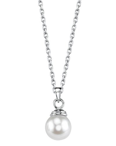 THE PEARL SOURCE 14K Gold 9-9.5mm AAA Quality Round White Akoya Cultured Pearl Hope Pendant Necklace for Women -