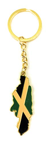Country Shape Flag Metal Keychain (Jamaica)