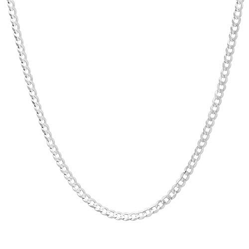 Unisex 3mm Solid Sterling Silver .925 Curb Link Chain Necklace, Made in Italy (18 Inches) ()