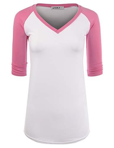 CLOVERY Women's Raglan Top Two Tone Design Short Sleeve V-Neck Shirt WHITEPINK 2X Plus Size