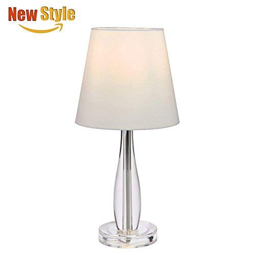 - SOTTAE Elegant Modern Clear Base Living Room Bedroom Bedside Table Lamp, White Fabric Shade