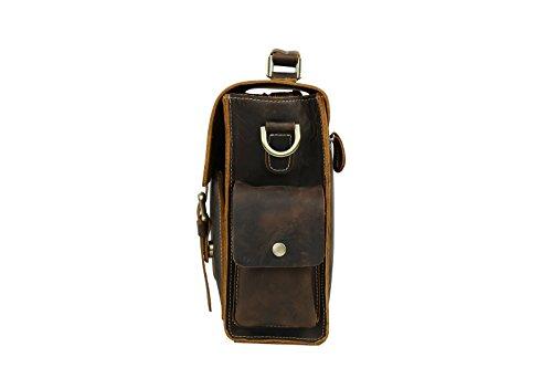 BAIGIO Herren Freizeit Tasche Laptoptasche Businesstasche Collegetasche ledertasche Schultertasche Studententasche Umhängetasche aus eschtem Leder Groß Praktisch Tasche, Braun
