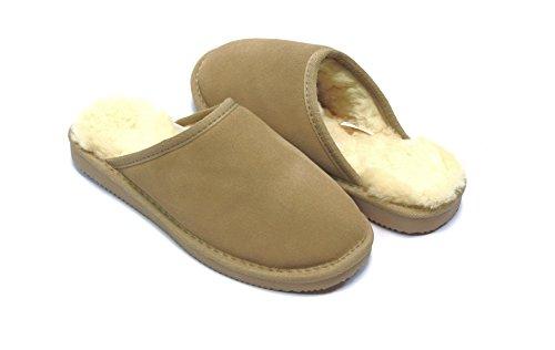 Lammfell Pantoffel slipper Damen Hausschuhe mit Australischen Lammfell, beige - sand mit beigen Fell elastischer comfort Sohle - sehr warm