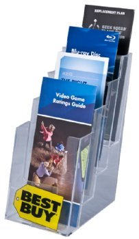 Clear-Ad - LHF-S104 - Acrylic Slant Back 4 Tier Trifold Brochure Display - Plastic Literature Holder for Flyers, Booklets, Bills, Mail, Letters, Cards, Pamphlets, Maps (Pack of 4) by Clear-Ad (Image #2)