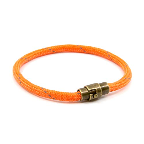 Lobo Verde Handmade Paracord Rope Bracelet with Magnetic Copper Clasp (Orange, 7.5)