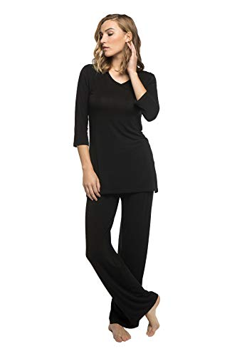 - Large Black BambooDreams 'Haley' Crossover Tunic Pajama Set