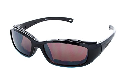 Libert Sport RIDER Sunglasses, Shiny Black Frame, Rose Amber Lens, - Liberty Sports Sunglasses