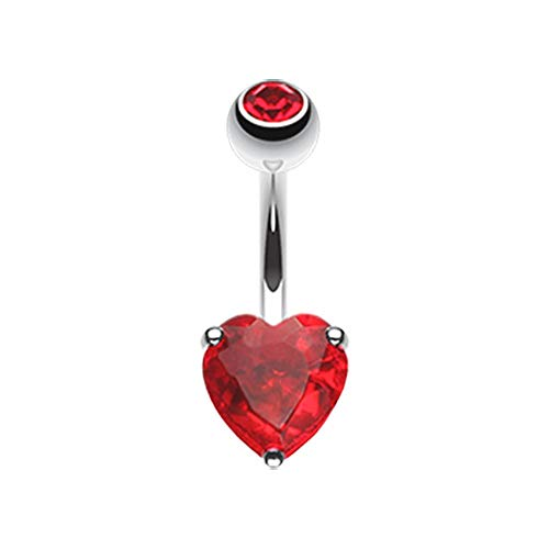 14 GA Classic Heart Prong Sparkle Belly Button Ring 316L Surgical Stainless Steel Body Piercing Jewelry For Women and Men Davana Enterprises (Multiple Colors) (14GA Red) ()