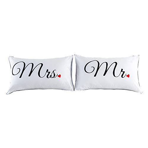 NTBED Couples Pillowcases Mr and Mrs Pillow Covers Heart Printed Bed Pillowcase, Wedding (1, 19''x29'') -