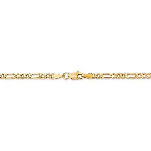 (3.25 mm 14k Yellow Gold Flat Figaro Chain Necklace - 22 Inch)