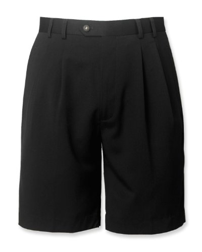 Cutter   Buck Gabardine Microfiber Pleated Shorts  Black  Waist 36