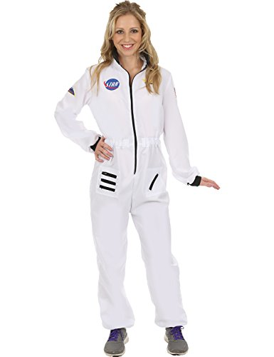 Adult Women's White Astronaut Fancy Dress Costume Small