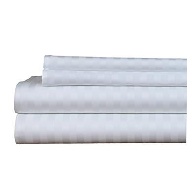 Brielle 400 Thread Count Egyptian Cotton Sateen Fine Sheet Set, Queen, White Stripe