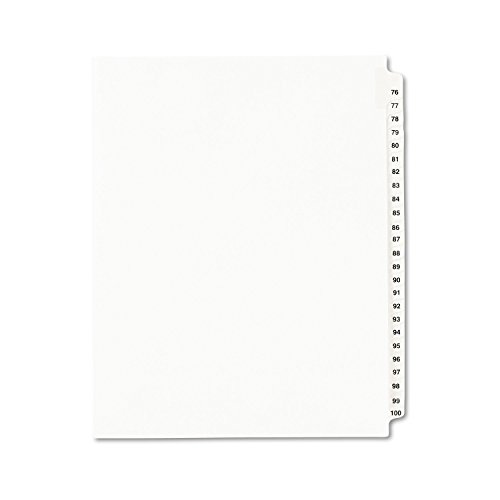 Index Divider Exhibit 100 - Avery Legal Dividers, Standard Collated Sets, Letter Size, Side Tabs, 76-100 Tab Set (01333)