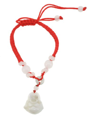 Kabbalah Amulet Lucky Knot Rope Red String Bracelet (Happy Buddha)