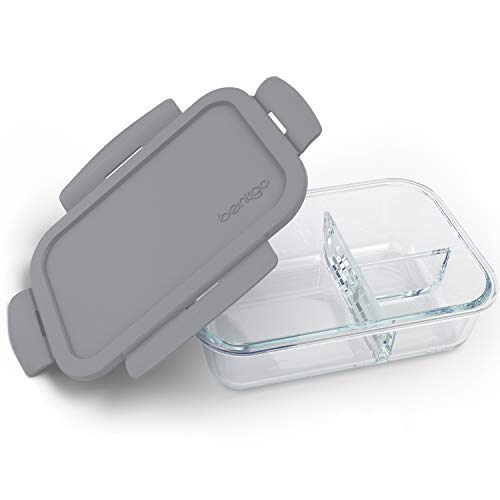 Bentgo Glass (Gray) - Leak-Proof, 3-Compartment Oven-Safe Glass Lunch Container | Ideal for Portion-Control, Food Storage & Healthy On-the-Go Meals - FDA-Approved, BPA-Free, Food-Safe Materials (Glass Divided Dish)