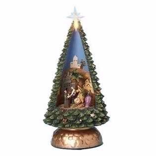 Roman 121438 Figurine Holy Family Nativity In Musical Rotating Christmas Tree - 10 in.
