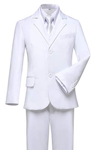 Visaccy Boys White Suit Graduation Suits for Kids Outfit Communion Dresses Size 2T ()