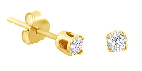 Cttw Round Shape White Natural Diamond Tiny Solitaire Stud Earrings In 14K Yellow Gold Over Sterling Silver ()