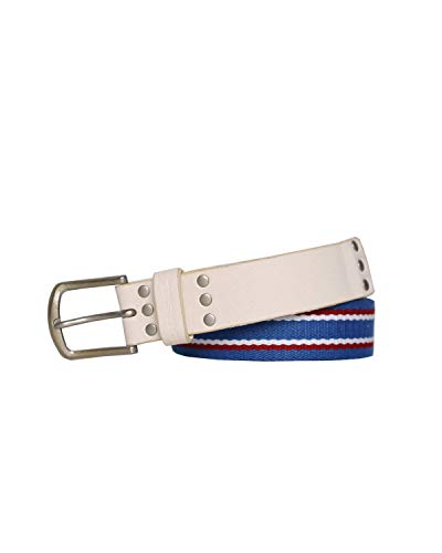 DIESEL - Leather and Cotton Belt BAGA - blue, 100