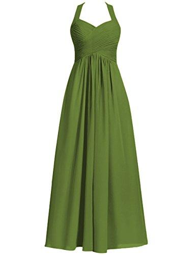 Halter Bridesmaid Dresses Long Prom Dress Chiffon Evening Formal Gowns Pleats Maxi Oliva US 26W