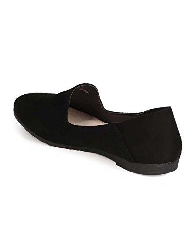 Kayleen Ed18 Suède Amandel Teen Venetiaans Slipper Slip Op Loafer - Zwart