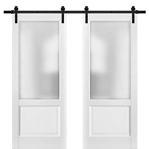 Sliding Double Barn Doors 56 x 80 with Hardware | Lucia 22 Matte White with Frosted Opaque Glass | Top Mount 13FT Rail Sturdy Set | Kitchen Lite Wooden Solid Panel Interior Bedroom Bathroom Door