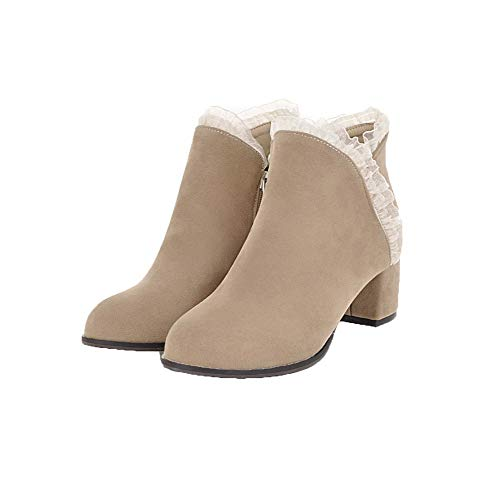 AgooLar Solid Toe Top Frosted Women's Boots GMDXB123591 Beige Closed Heels Kitten Low gwgx4