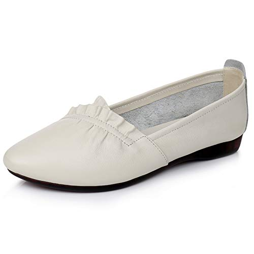 fashion pointed comfortable shoes single FLYRCX shoes flat soft C pregnant mouth shallow shoes bottom Spring casual autumn leather women ladies and Sqt8C