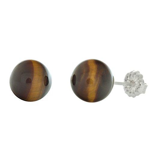 Trustmark 925 Sterling Silver 8mm Natural Brown Tigers Eye Ball Stud Post Earrings ()