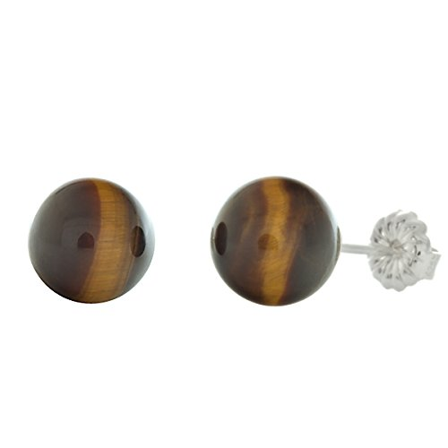 Trustmark 925 Sterling Silver 8mm Natural Brown Tigers Eye Ball Stud Post Earrings (Silver Eye Sterling Bead Tiger)