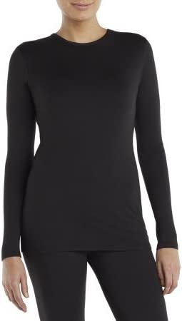 Cuddl Duds ClimateRight by Womens Sueded Warmth Warm Long Sleeve Crew With Thumbholes Top
