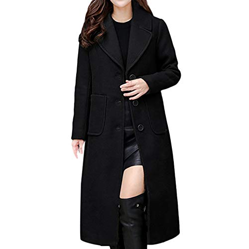 - Todaies Women Ladies Winter Lapel Slim Long Coat Jacket Parka Outwear Wool Overcoat (XL, Black)