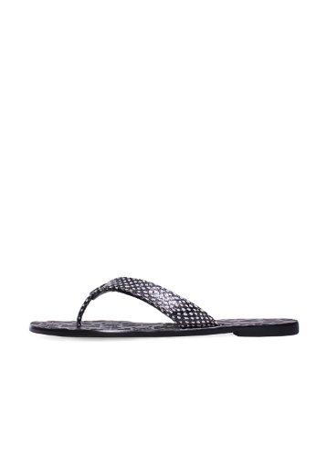 Tory Burch Flip Flop Sandal Thora 2 Black Leather Flat Polka Dot Snake Print (7)