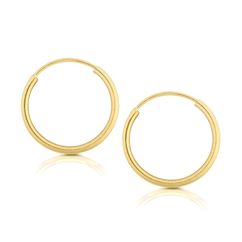 14k Yellow Gold Women's Endless Tube Hoop Earrings 1mm-1.5mm Thick 10mm - 60mm ()