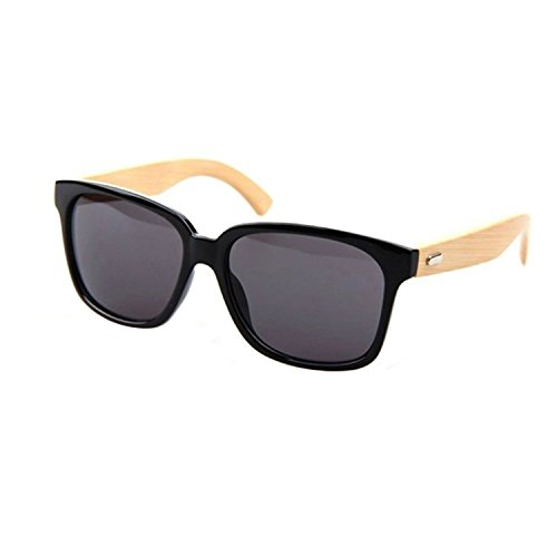 Persianas de Gafas sol Hombr de de marco TOOGOO R Mujer sol Gafas de Negro bambu gafas de madera znqdUq7