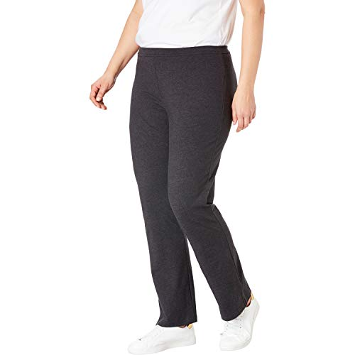 Woman Within Women's Plus Size Stretch Cotton Bootcut Yoga Pant - Heather Charcoal, M