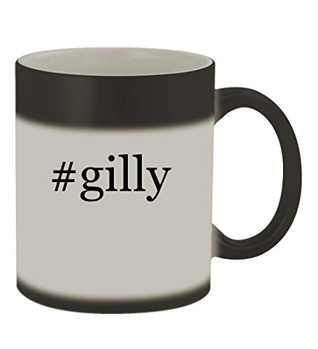 #gilly - 11oz Color Changing Hashtag Sturdy Ceramic Coffee Cup Mug, Matte Black
