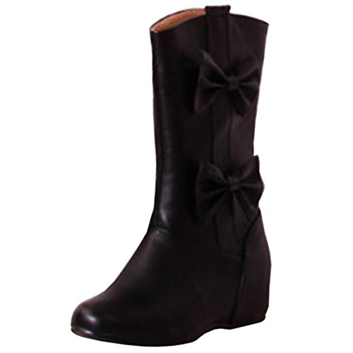 Bowknot Calf KemeKiss Heel Sweet Hidden with Black Pull Boots Women Mid On waw6q