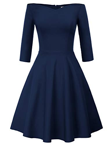 GRACE KARIN 50s Retro Party Dress Wear to Work Plus Size 2XL Navy Blue CL823-3 (Accessories To Wear With Navy Blue Dress)