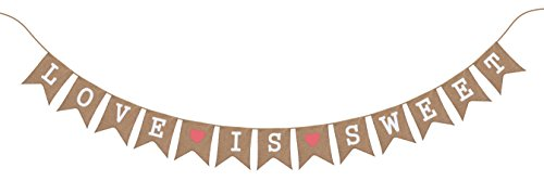 [Vintage Wedding Decorations - Bridal Shower Decorations- Love Is Sweet Burlap Banner by Sterling James Co.] (Superhero Comics Flag Banner Kit)