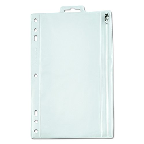 Oxford Zippered Ring Binder Pocket, 6 x 9-1/2, Clear/White (68599) (Oxford Zipper Binder Pocket)