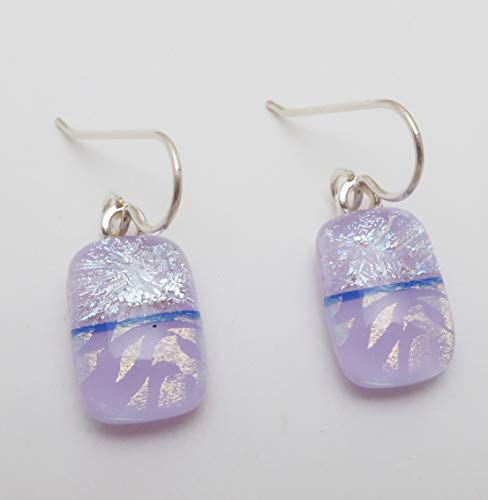 Modern Art Lavender Fused Dichroic Glass Dangle Earrings .925 Sterling silver ear wires ()