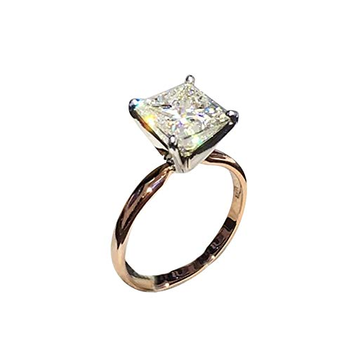 Ring, soAR9opeoF Womens Vintage Fake Crystal Jewelry Square Cut Engagement Wedding Bridal Ring - Rose Gold US ()