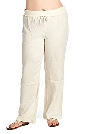 High Style Women's Plus Size Full Length fold Over 100% Linen Pants with Drawstring tie (003A_P, AntiqueWhite, 16W)