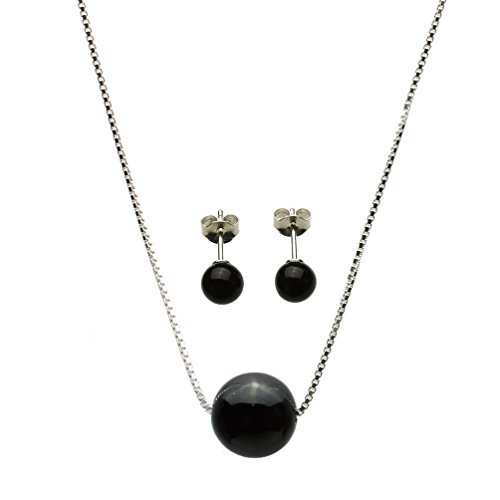 Round 10mm Black Onyx Stone Station Sterling Silver Box Chain Necklace Stud Earrings - Necklace Silver Black Onyx Sterling