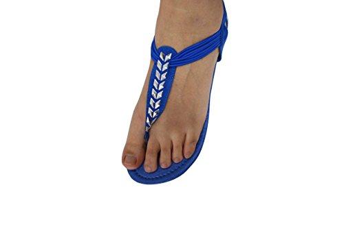 Roman 6390 Thong Strappy Fashion Womens Blue Sandals Studded Strap Gladiator T Sandals Gladiator x8gP4q