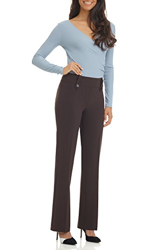 Rekucci Women's Smart Desk To Dinner Stretch Bootcut Pant w/Tummy Control (Brown Career Pant)